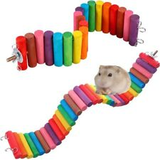 Wooden Colorful Hamster Parrot Pet Ladder Bridge Stair Gerbil Rodent Rat Toy UK
