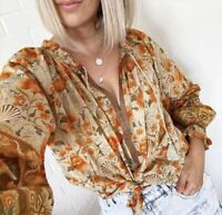 XL New Boho Floral Long Sleeve Peasant Blouse Vtg 70s Insp Top Womens X-LARGE