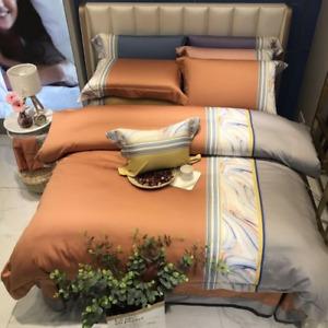 Luxury Orange Patchwork Marble Duvet Cover  Egyptian Cotton Bedding Set  4pcs