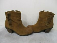 Steven By Steve Madden Brown Suede Leather Fringe Ankle Boots Womens Size 8