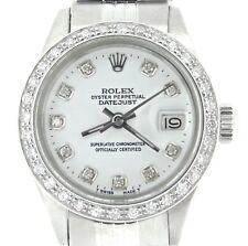 Rolex Datejust Lady Stainless Steel Watch Jubilee White Diamond Dial .70ct Bezel