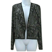 Patra Cardigan Top Sparkly Open Front Long Sleeve Black Shimmer Blouse Size 12
