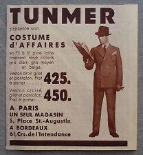 Publicité TUNMER Costumes vetements  1935  french advert