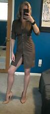 Express Wiggle Pencil Shirt Dress Button Down Brown Sexy Fitted Belt S/M/6 Clasy