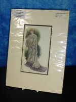 Antique hand coloured ART PRINT c1900 Art Nouveau fashion Lady in cloak dress