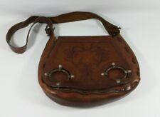 Vintage Hand Tooled Leather Handbag Purse Satchel Bag w/ Floral Pattern