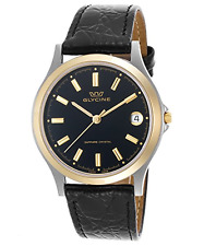 GLYCINE 3690.39.SAP-LBK9 Swiss Made Sapphire Crystal Black Dial Leather Watch