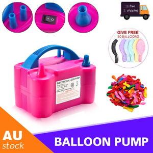Electric Balloon air Pump Ballon Inflator Power 2 Nozzles Portable Air Blower AU