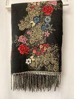 "Woven Floral Poncho One Size Black Reversible Background 4.5"" Fringe"