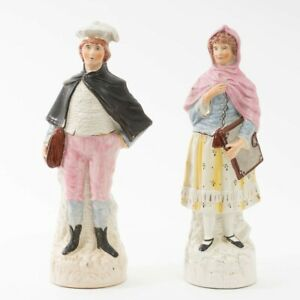 """Set of 2 Antique Staffordshire Pottery Figurines Early 20th c. Man & Woman 13"""" T"""