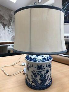 Vintage Blue & White Chinese Style Ceramic Table Lamp OKA Statement Piece
