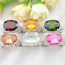 Mixed 6pcs 1 Lot Shiny Citrine Peridot Garnet Topaz Silver Woman Ring Size 7 8 9