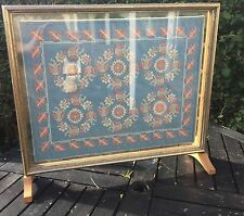 "PRELOVED TWO SIDED BLUE LINEN PINK/WT EMBROIDERED/GLASS PANEL 20 1/2""x18""x5 1/2"""