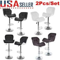 Set of 2 Bar Stools Pub Kitchen Dining Chair Counter PU Leather Swivel Barstool