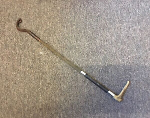 """ANTIQUE RIDING CROP HUNTING WHIP HALLMARKED SILVER COLLARS INSCRIPTION 25"""""""