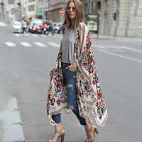 Casual Ladies Girl Cardigan Kimono Floral Print Blouse Boho Chiffon Coat Shawl