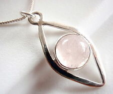 Rose Quartz Pendant 925 Sterling Silver Sphere Inside Arcs 4ct New