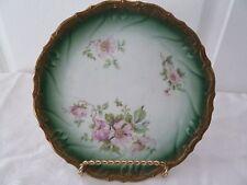 "Vintage Plate  ND & Co Carlsbad Austria Pale Green Floral Gold Rimmed 7.5"""