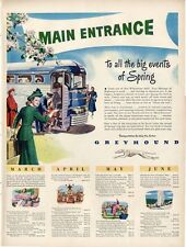 1948 Greyhound Print Ad Bus Lines Great Artwork with schedule nice frameable art