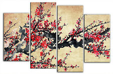 LARGE ASIAN PLUM BLOSSOM CANVAS PICTURE FLORAL RED BEIGE PAINTING 4 PANEL 100cm