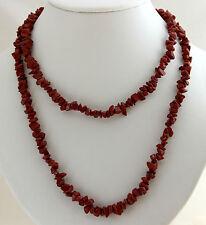 Rojo jaspe Cadena de piedras preciosas aprox. ca.90cm largos INTERMINABLE picado