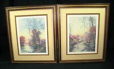 Set of 2 Vintage 1978 D.A.C. N.Y. Autumn Prints -- Original Wood Frame -- Matted
