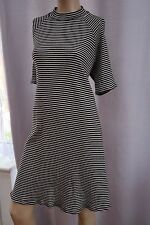 AC Black White short sleeve turtle high neck George A-line striped dress 18uk