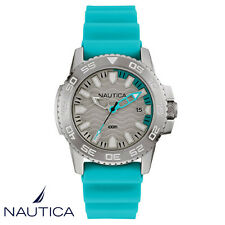 Nautica . NAI12531G . NSR 20 . Armband Uhr Herren . Silikon . türkis . NEU