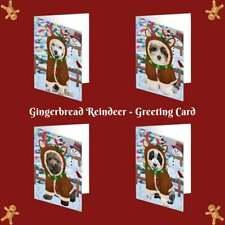 Christmas Gingerbread Reindeer Dog Cat Pet Photo Greeting Invitation Card