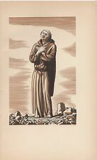 """1934 Vintage ROCKWELL KENT """"THE PRIEST"""" CANTERBURY TALES Art Print Lithograph"""