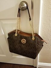 NWT MICHAEL KORS  JET SET TRAVEL LARGE CHAIN SHOULDER TOTE  IN BROWN