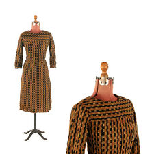 Vintage 60s 70s Brown + Black Mod Op Art Graphic Print Knit Long Sleeve Dress M
