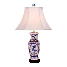 """Chinese Blue and White Porcelain Floral Hexagonal Vase Table Lamp 26"""""""