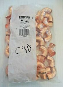 """LOT of 50  COPPER FITTING - COPPER 90 ELBOW 1/2"""" C9D Nibco"""