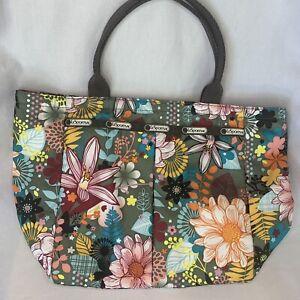 LeSportsac EveryGirl Multi-Color Floral Zip Top Tote Bag Brown Interior, Pockets