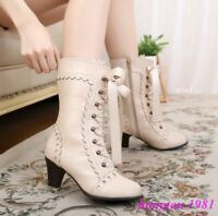 Lolita Womens Lace Up Cosplay Japanese Cute Sweet Mid Calf Boots Shoes Pumps NEW
