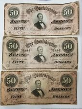 3 1864 Richmond VA Confederate States $50 Fifty Dollars Currency Note Collection