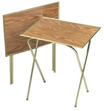 Honey Oak TV Tray Serving Table Stain Resistent Quaker Stand 2 Pack Folding new