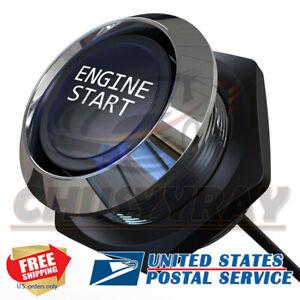 12V Racing Blue LED Engine Push Start Button Switch Ignition Starter Kit
