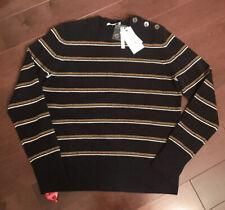 EQUIPMENT Women's DURU CASHMERE WOOL Sweater BUTTONS Navy Stripes -SIZE M $350
