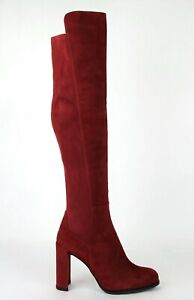 $765 Stuart Weitzman Women's Alljill Scarlet Red Suede Over-the-knee Boot