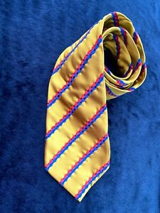 Vintage Vivienne Westwood Mustard Silk Embroidered Tie - Stonehenge Label