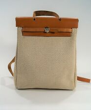 Authentic 1999 Hermés Beige & Tan Woven Toile Canvas 2 Way Herbag Backpack