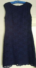 Lauren Ralph Lauren Women's Lace Dress Lined Sleeveless Navy Blue Size 14