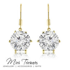 Gold Plated 8mm Cubic Zirconia Solitaire Round Crystal Drop Earrings Gift