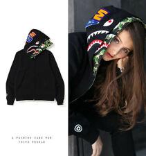 New Bape Hoodie A Bathing Ape Camouflage Double Hat Shark Head Sweatshirt Jacket