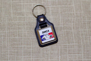 Simca 1100 Keyring - Leatherette and chome Keytag