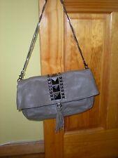 $195 New HYPE Anthropologie Beige/Gray Leather Flap Shoulder Bag