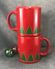 Set of 2 Waechtersbach-Red Coffee Mugs Cups- Christmas Tree Design- Germany NICE