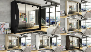 "Brand New Wardrobe ""NOTSA 4"" Sliding Doors Mirror Shelves Hanging Rail 250 cm"
